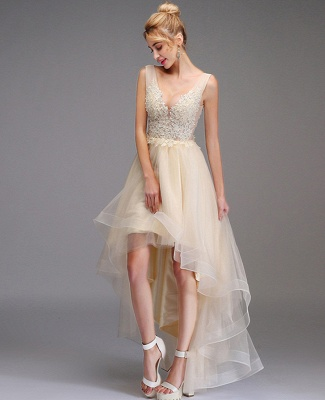 High-low Prom Dress A-line Sleeveless Double V-neck Princess Party Gown Lace Tulle Backless Dress