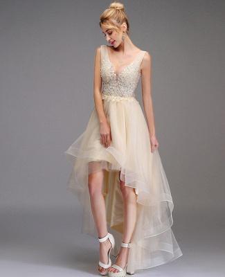Vestido de fiesta alto-bajo Una línea Sin mangas Vestido de fiesta de princesa con cuello en V doble Vestido sin espalda de tul de encaje