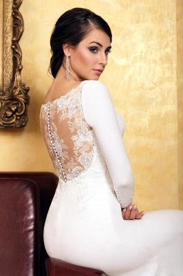 Elegant Mermaid Evening Dress Slim Long Sleeve Floral Lace with train_3