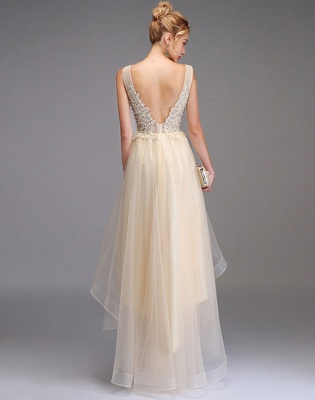 Vestido de fiesta alto-bajo Una línea Sin mangas Vestido de fiesta de princesa con cuello en V doble Vestido sin espalda de tul de encaje_2