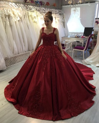 Red A-line Ball Gown with Long Sweep Train Sweetheart Straps_2