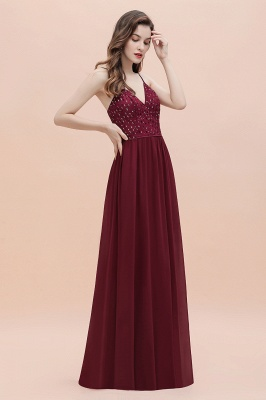Col en V bretelles A-ligne robe de demoiselle d'honneur robe de soirée paillettes