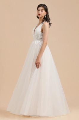 Apliques de encaje de tul con cuello en V marfil Vestido de novia simple Vestidos de novia de jardín Longitud del piso_5