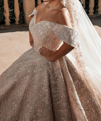 Luxurious Off-the-Shoulder Sequins Ball Gowns for Women A-line Satin Wedding Gowns_2