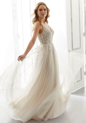 White V-Neck Backless Wedding Dress Tulle Lace Appliques Bridal Gowns