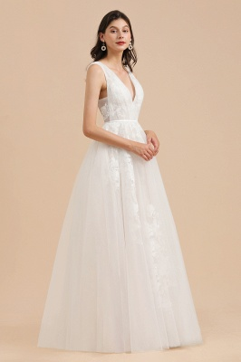 Apliques de encaje de tul con cuello en V marfil Vestido de novia simple Vestidos de novia de jardín Longitud del piso_4