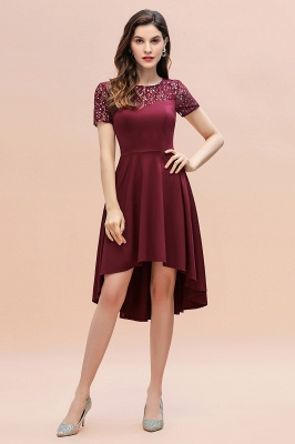 Short Sleeve Sequins Evening Hi-Lo Dress Tea Length Crew neck Cocktail Dress