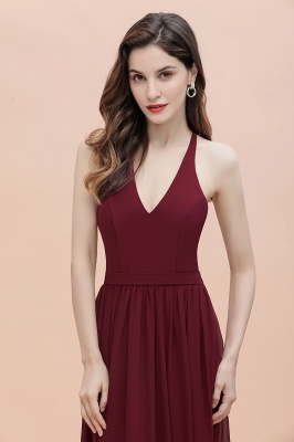 Burgundy Sleeveless V-neck Beaded Back Chiffon Bridesmaid Dress_9