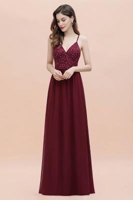 Col en V bretelles A-ligne robe de demoiselle d'honneur robe de soirée paillettes_8
