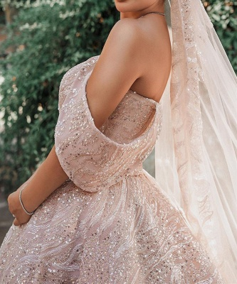 Luxurious Off-the-Shoulder Sequins Ball Gowns for Women A-line Satin Wedding Gowns_3