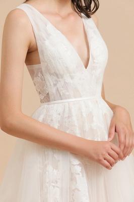 Apliques de encaje de tul con cuello en V marfil Vestido de novia simple Vestidos de novia de jardín Longitud del piso_7