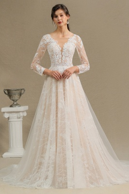 Elegant Lace Deep V-neck Wedding Dress Long Sleeve Floor Length Bridal Gowns