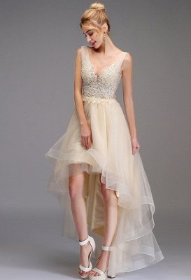 High-low Prom Dress A-line Sleeveless Double V-neck Princess Party Gown Lace Tulle Backless Dress_3