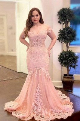 Off Shoulder Pearl Pink Mermaid Evening Prom Dress Lace Appliques Wedding Gowns