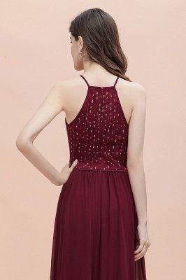 Вечернее платье трапециевидной формы с пайетками на шее, элегантное шифоновое вечернее платье макси_9