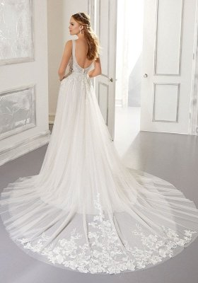 White V-Neck Backless Wedding Dress Tulle Lace Appliques Bridal Gowns_2