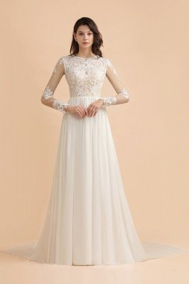 Winter Warm Long sleeves Lace A-line Chiffon Wedding Dress