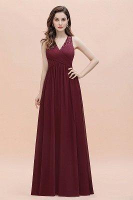 Vestido de noite de chiffon com decote em A maxi vestido sem mangas dama de honra vestido de noiva_8
