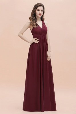 Vestido de noite de chiffon com decote em A maxi vestido sem mangas dama de honra vestido de noiva_9