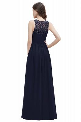Vestido de noite de chiffon com decote em A maxi vestido sem mangas dama de honra vestido de noiva_16
