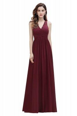 Vestido de noite de chiffon com decote em A maxi vestido sem mangas dama de honra vestido de noiva_1