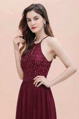 Вечернее платье трапециевидной формы с пайетками на шее, элегантное шифоновое вечернее платье макси_8