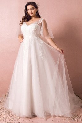 Elegant Plus Size Lace Wedding Dress A-line Floor Length V-neck Tulle Appliques Lace-up Poet Sleeves