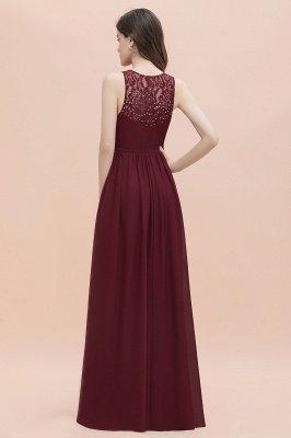 Vestido de noite de chiffon com decote em A maxi vestido sem mangas dama de honra vestido de noiva_5
