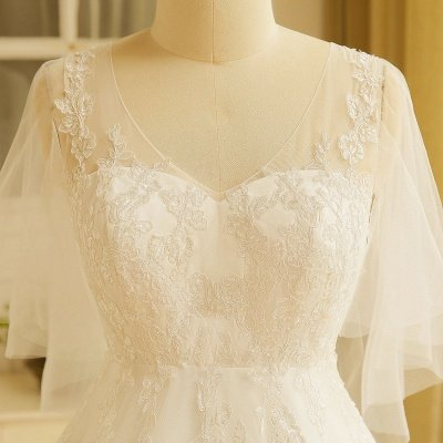 Elegant Plus Size Lace Wedding Dress A-line Floor Length V-neck Tulle Appliques Lace-up Poet Sleeves_7