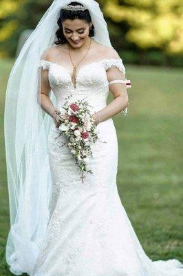 Off Shoulder White Garden Mermaid Bridal Gown_1