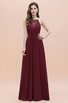 Straps Bateau A-line Sequins Evening Maxi Dress Elegant Chiffon Prom Dress_8