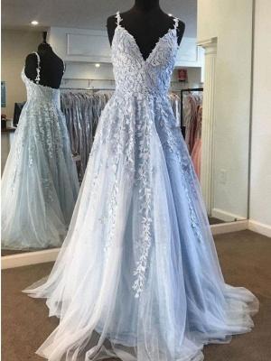 Robes de bal en dentelle bleu ciel col en V profond une ligne longue fête élégante 2021 longueur de plancher pas cher femmes robes de soirée_4