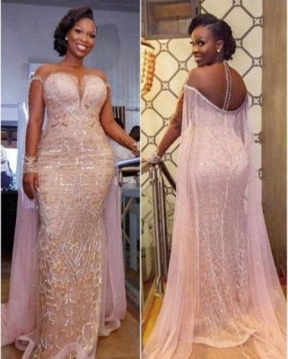Unique Illusion neck Sparkle Beaded Mermaid Plus size Evening Dress