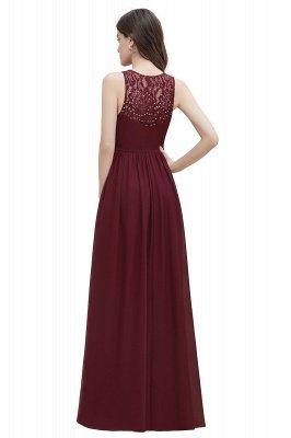 Vestido de noite de chiffon com decote em A maxi vestido sem mangas dama de honra vestido de noiva_17