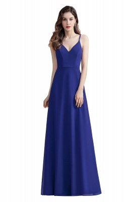 Elegant V-Neck Chiffon Evening Prom Dress for Women Straps Formal Maxi Dress_2