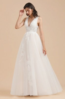Ivory V-Neck Tulle Lace Appliques Simple Wedding Dress Garden Wedding Gowns Floor Length