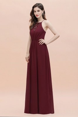 Straps Bateau A-line Sequins Evening Maxi Dress Elegant Chiffon Prom Dress_9