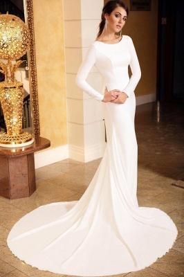 Elegante vestido de noche de sirena delgado de manga larga con encaje floral con cola_1
