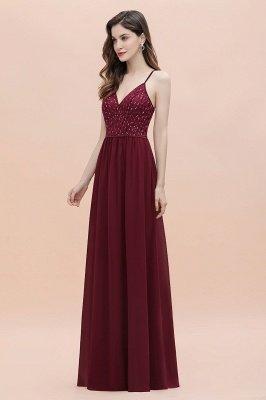 V-образный вырез Ремни А-силуэта Платье для подружки невесты Вечернее платье с пайетками_7