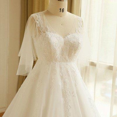 Elegant Plus Size Lace Wedding Dress A-line Floor Length V-neck Tulle Appliques Lace-up Poet Sleeves_3
