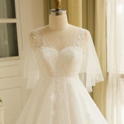 Elegant Plus Size Lace Wedding Dress A-line Floor Length V-neck Tulle Appliques Lace-up Poet Sleeves_4