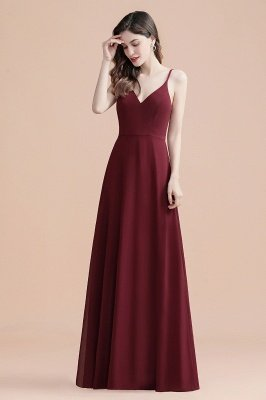 Elegant V-Neck Chiffon Evening Prom Dress for Women Straps Formal Maxi Dress