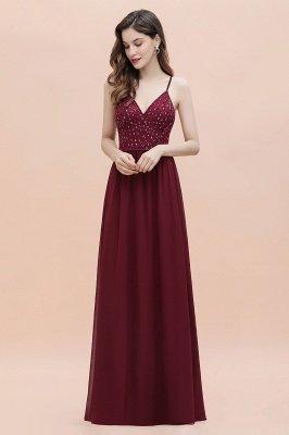 V-образный вырез Ремни А-силуэта Платье для подружки невесты Вечернее платье с пайетками_8