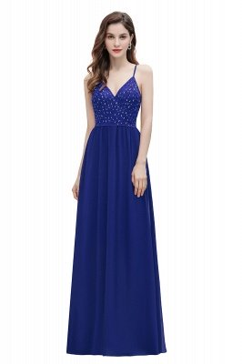 V-образный вырез Ремни А-силуэта Платье для подружки невесты Вечернее платье с пайетками_12