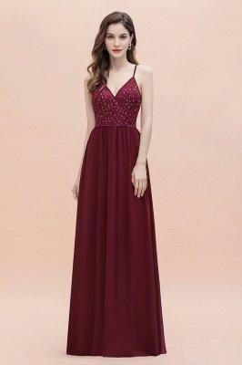 V-образный вырез Ремни А-силуэта Платье для подружки невесты Вечернее платье с пайетками_6