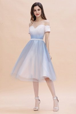 Off Shoulder Sweetheart Gradient A-line Evening Party Mini Dress SatinTea Length
