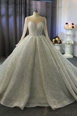 Luxurious Ball Gown Long Sleeve Crystal Beading Wedding Dress A-line Elegant