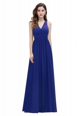 Vestido de noite de chiffon com decote em A maxi vestido sem mangas dama de honra vestido de noiva_2