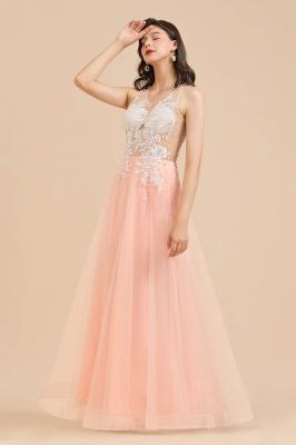 Apliques de encaje de cuello redondo simple Vestido de noche rosado de una línea_10