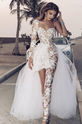 Elegant Lace Jumpsuit Asymmetirc See-through Overskirt White Wedding Dress